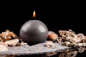 燃烧的蜡烛和装饰海 — 图库照片