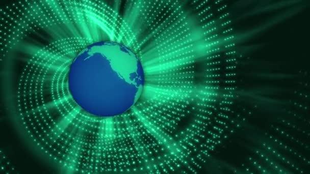 Lazo abstracto movimiento fondo, globo y rotación de luz verde — Vídeo de stock