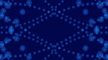 Turbulence snowflake, abstract loop motion blue background — Stock Video
