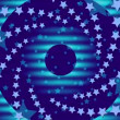 Abstract loop motion background, wave motion blue circles with rotating stars — Stock Video #52348807