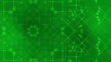 Laço abstrato movimento fundo, linha verde caleidoscópio — Vídeo stock