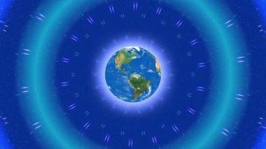 Abstrakt loop rörelse bakgrunden, globe och blått ljus — Stockvideo