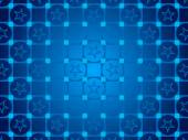 Blue abstract background, particles circles and squares, stars — Stock Photo