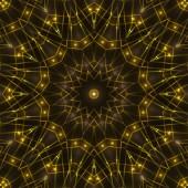 Gold kaleidoscope light, dark abstract background — Stock Photo