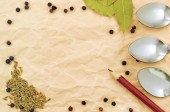 Background of spices on paper — Stock Photo