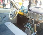 Soviet police retro car Volga GAZ-21 retro rally Gorkyclassic about Gum, Moscow, cab interior — Stock Photo