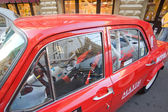 Soviet retro racing car Dzintara Volga GAZ-24 at the rally Gorkyclassic about Gum, Moscow, fragment cab — Stock Photo