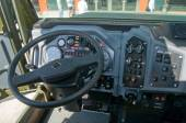 "The cab interior armored car Ural-4320VV at the exhibition ""Integrated safety and security-2014"", Moscow, the driver's seat — Stock fotografie"