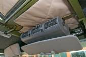 """The cab interior armored car Ural-4320VV at the exhibition """"Integrated safety and security-2014"""", Moscow, view air conditioning — Stock Photo"""