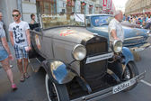 Soviet retro car GAZ-A (licensed copy Ford-A) for retro rally Gorkyclassic in the Parking lot near Gum Department store, Moscow, front view — Stock Photo