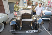 Soviet retro car GAZ-A (licensed copy Ford-A) for retro rally Gorkyclassic, GUM, Moscow, front view — Stock Photo