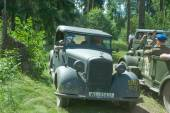 """German car Mercedes 170VK Polizei, 3rd international forum """"Engines of war"""" near the town of Chernogolovka, Moscow region, front view — Stock Photo"""