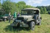 """Retro car Dodge WC-57 Command Car at the 3rd international meeting of """"Engines of war"""" near the city Chernogolovka, Moscow region, front view — Foto de Stock"""