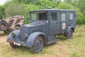 "German ambulance Phenomenon Granite-25 Kfz.31, 3rd international meeting ""Engines of war"" near the city Chernogolovka, Moscow region — Stock Photo"