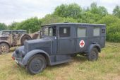 "German ambulance Phenomenon Granite-25 Kfz.31, 3rd international meeting ""Engines of war"" near the city Chernogolovka — Stock Photo"