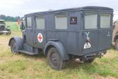"German ambulance Phenomenon Granite-25 Kfz.31, rear view, 3rd international meeting ""Engines of war"" near the city Chernogolovka, Moscow region — Stock Photo"