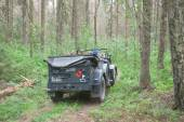 """German car Horch-901 on retro rally in the woods, 3rd international meeting """"Motors of war"""" near the city Chernogolovka, Moscow region, rear view — Stock Photo"""