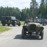 Постер, плакат: Soviet military retro GAZ 67 highway 3rd international meeting Motors of war near the city Chernogolovka
