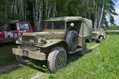 "U.S. army Dodge WC-51 on retro rally on forest road, 3rd international meeting ""Motors of war"" near the city Chernogolovka, Moscow region — Stock Photo"