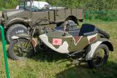 """Japanese old military Rikuo motorcycle Type 97 at the 3rd international meeting of """"Motors of war"""" near the city Chernogolovka, side view — Stock Photo"""