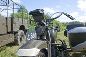 """Japanese old military Rikuo motorcycle Type 97 at the 3rd international meeting of """"Motors of war"""" near the city Chernogolovka, fragment — Stockfoto"""