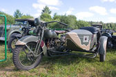 """Japanese old military Rikuo motorcycle Type 97 at the 3rd international meeting of """"Motors of war"""" near the city Chernogolovka, front view — Stock Photo"""