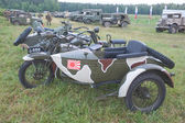"""Japanese old military Rikuo motorcycle Type 97 (a copy of the Harley-Davidson) at the 3rd international meeting of """"Motors of war"""" near the city Chernogolovka, side view — Stock Photo"""