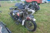 """Japanese old military Rikuo motorcycle Type 97 (a copy of the Harley-Davidson) at the 3rd international meeting of """"Motors of war"""" near the city Chernogolovka — Stock Photo"""
