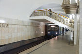 "The platform and the transition to the metro station ""Pushkinskaya"" in Moscow — Stock Photo"