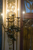 """The candlestick in the historic Interior of the famous Moscow restaurant """"Yar"""", MOSCOW, RUSSIA — Stockfoto"""