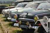 "A number of old Soviet car GAZ-21 ""Volga"" exhibition Autoexotics, Moscow, Tushino — Stock Photo"