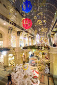 Christmas interior of the Main Department Store (GUM) in the evening, MOSCOW, RUSSIA — Stock Photo