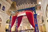 Evening new year's eve gala interior in the GUM, MOSCOW, RUSSIA — Foto Stock