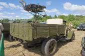 "Soviet retro truck GAZ-MM anti-aircraft installation at the 3rd international meeting of ""Motors of war"" near the city Chernogolovka — Stok fotoğraf"