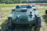 "French light armored tractor Renault UE on the transport cart, front view, 3rd international meeting ""Motors of war"" near the town of Chernogolovka, Moscow region — Stock Photo"