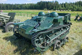 """French light armored tractor Renault UE on the transport truck, side view, 3rd international meeting """"Motors of war"""" near the town of Chernogolovka, Moscow region — Stock Photo"""