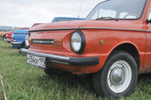 The number Soviet of cars ZAZ Zaporozhets the exhibition Autoexotics, Tushino — Stock Photo