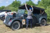 "German retro car Horch-901 at the 3rd international meeting of ""Motors of war"" near the city Chernogolovka, Moscow region, shooting tent — Stock Photo"