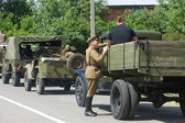 "Truck GAZ-AA in the military convoy of vintage cars on the road, the 3rd international meeting of ""Motors of war"" near the city Chernogolovka, Moscow region — Stock Photo"