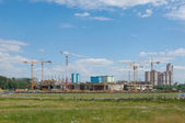 "Tushino airfield in the summer, a view of the construction of the stadium ""Spartak"" — Photo"