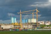 "Tushino airfield, views of the cranes on the construction of the stadium ""Spartak"" — Stock Photo"