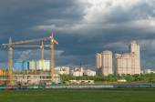 """Tushino airfield, a view of the construction of the stadium """"Spartak"""" and elite residential complex Scarlet sails — Stock Photo"""