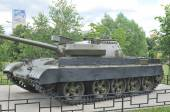 The monument to Soviet tank T-55 modernized in Khimki, square Scar Mary, side view — Stock Photo