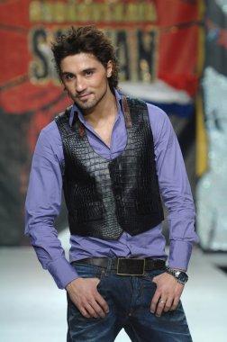 Moscow Fashion Week in Gostiny Dvor. Russian singer Dima Bilan at the show fashion of  Ilya Shiyan