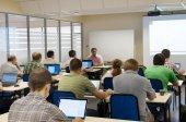 Seminar in a computer class — Stock Photo