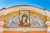 Mosaic Maria and angel at the entrance to the Alexander Nevsky Lavra, St Petersburg, Russia — Stock Photo
