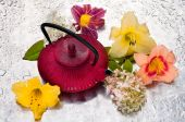 Tea pot between the flowers on a rainy day — Stock Photo