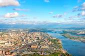 Novosibirsk aerial view and river Ob — Stock Photo