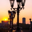 Yekaterinburg town throw the street lights in the sunset — Stock Photo #55994561
