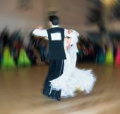 Couple Ballroom Dancers Dancing Waltz Rear View — Stock Photo